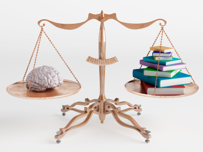 Brain and books on scale