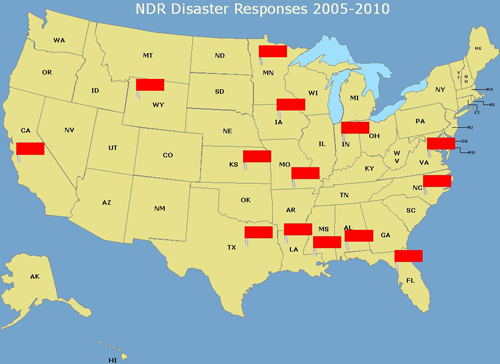 Places where NDR has responded to disaster in the United States